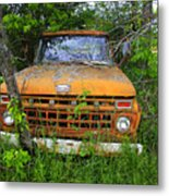 Old Abandoned Ford Truck In The Forest Metal Print