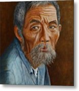 Old Asian Worker Metal Print