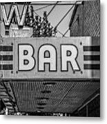 Old Bar Sign Livingston Montana Black And White Metal Print