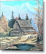 Old Barn Above The Pond  Metal Print