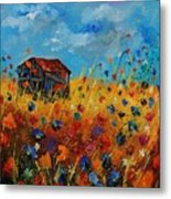 Old Barn And Wild Flowers Metal Print