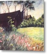 Old Barn And Wildflowers Metal Print