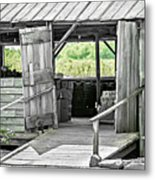 Old Barn At The Farm On Sunny Day Metal Print