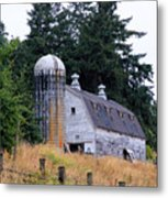 Old Barn In Field Metal Print