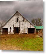 Old Barn In The Storm Metal Print