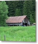 Old Barn In The Trees  Washington State Metal Print