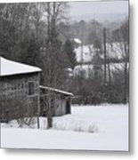 Old Barn In Winter Scenery Metal Print