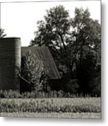 Old Barn Outbuildings And Silo  Metal Print