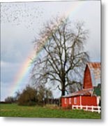 Old Barn Rainbow Metal Print
