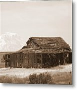 Old Barn With Mount Adams In Sepia Metal Print