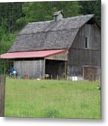 Old Barn With Red Leanto  Washington State Metal Print