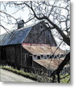 Old Barn With Tree Watercolor Metal Print