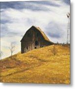 Old Barn With Windmill Metal Print