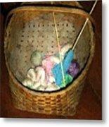 Old Basket New Yarn Metal Print