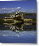Old Boat Reflection Metal Print