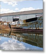 Old Boats Along The Exeter Canal Metal Print