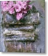 Old Books And Pink Roses Metal Print
