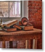 Old Books In Old Classroom Metal Print