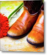 Old Boots And Daisy Metal Print