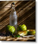 Old Bottle With Green Apples Metal Print
