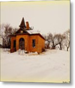 Old Brick Schoolhouse In Winter Metal Print