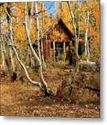 Old Cabin In The Aspens Metal Print