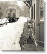 Old Caboose At Period Train Depot Winter Metal Print