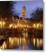 Old Canal And Dom Tower In Utrecht In The Evening 16 Metal Print