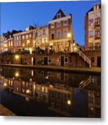 Old Canal In Utrecht At Dusk 211 Metal Print