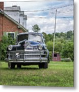 Old Car In Front Of House Metal Print