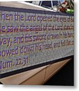 Old Car With Text Metal Print