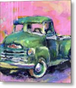 Old Chevy Chevrolet Pickup Truck On A Street Metal Print
