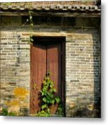 Old Chinese Village Door Series Sixteen Metal Print