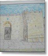 Old City.jerusalem.color Pencils 1992 Metal Print