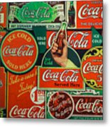 Old Coca-cola Sign Collage Metal Print