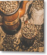 Old Coffee Brew House Beans Metal Print