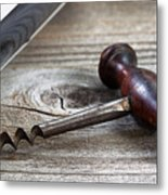 Old Corkscrew And Wine Bottle In Background On Rustic Wood Metal Print