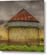 Old Corn Crib In The Cloudy Sky Metal Print