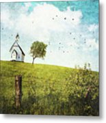 Old Country School House  On A Hill  Metal Print
