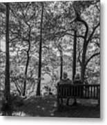 Old Couple On The Bench By The Lake Metal Print