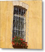 Old Decorated Window In Safed Metal Print