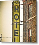 Old Detroit Hotel Sign Metal Print
