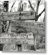 Old Directional Signs At Fort Cooper  Metal Print