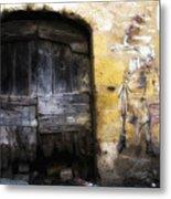 Old Door With Street Art Metal Print