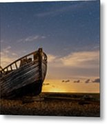 Old Dungeness Fishing Boat Under The Stars Metal Print