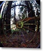 Old Farm Wagon Wheel Metal Print