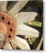 Old Farm Wheel Metal Print