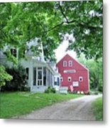 Old Farmhouse And Red Barn Metal Print