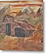 Old Farmhouse With Hay Stack In A Snow Capped Mountain Range With Tractor Tracks Gouged In The Soft  Metal Print