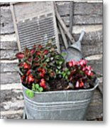 Old Fashion Elements With Flowers Metal Print